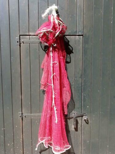 Oud Brocante Visnet Vissernet Origineel Roze met Drijvers