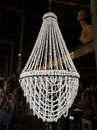 Unieke grote Schelpenhanger Schelpenlamp Ibiza Boho