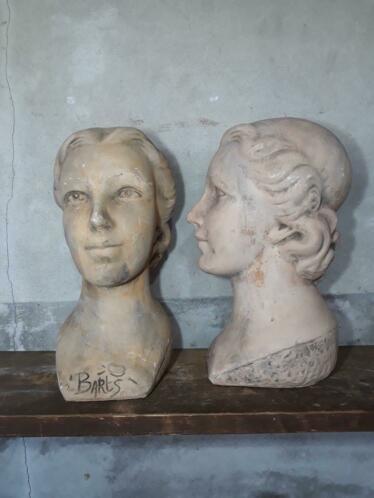 Oude Vintage Buste  Hoofd Barts Outdoor Winkeldisplay Vrouw