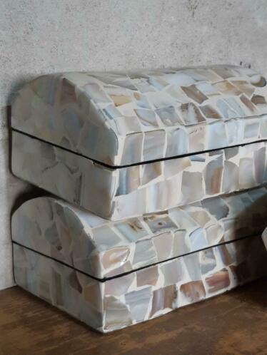 Schelpendoosje Gepolijste Mozaiek Schelp Doosje Parelmoer 8 cm