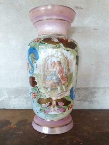Oude Antieke Opaline Kast of Schouw Vaas Roze