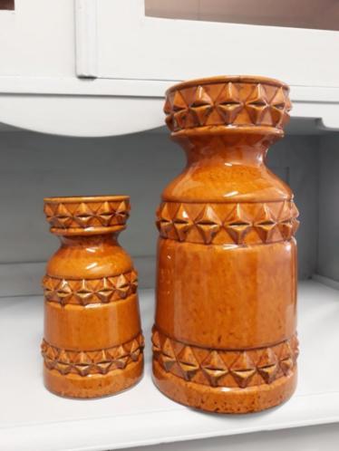 Oude Vintage Mid Century U Keramik Fatlava Schiedam Set Vaas Oker