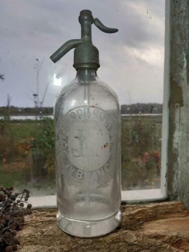 Oude Antieke Heldere Spuitfles Seltzer met Geetste Reclame