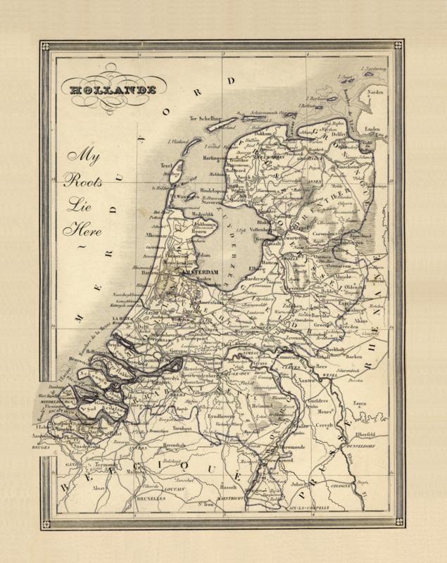 Poster Prent Nederland Landkaart - Netherlands