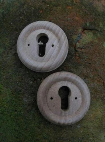 Antiek Sleutelplaatje Eikenhout 4.5 cm