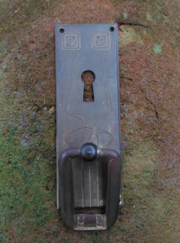 Antiek Sleutelplaatje Koper 9.5 cm