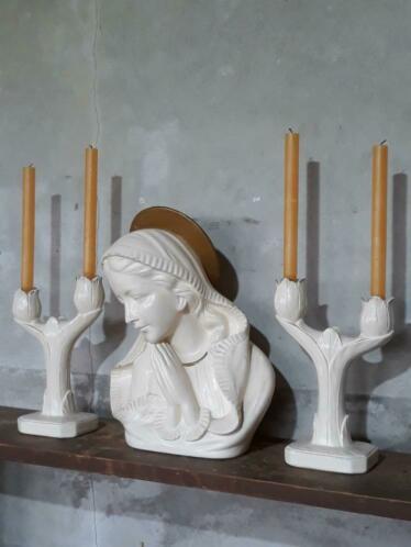 Oude Antieke Schouwset Maria Mariabeeld met Kandelaar Carli