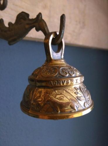 Antieke Bronzen Bel.Oude Antieke Bronzen Koperen Bel Met Muurbeugel Vis Oude Antieke