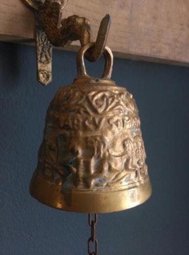 Antieke Bronzen Bel.Oude Antieke Bronzen Bel Met Muurbeugel Zeemeermin Oude Antieke