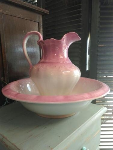 Oude Brocante Lampetset Roze Societe Ceramique Maestricht