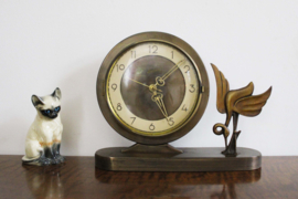 Vintage Hilbink klokje met vogel. Elektrische retro tafelklok (loopt niet)