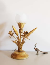Wit/goud kleurige vintage tafellamp. Hollywood regency stijl lamp. LS Italy