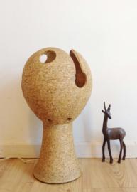 Grote aardewerk vintage lamp. Stenen retro design lamp.