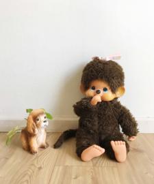 Grote vintage Monchichi aap, meisje. Originele retro knuffel, 45 cm.