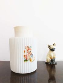 Schattig glazen plafondlampje met eendje. Vintage kinder lamp met dieren.