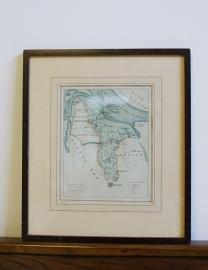 Vintage landkaartje Hulst/Zeeland. Oude prent in lijst