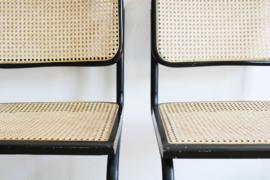 Set van 2 zwarte vintage stoelen. Retro design stoel, Cesca Marcel Breuer ?