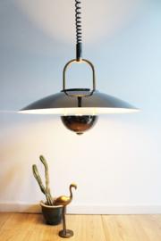 Toffe vintage design lamp. Zwarte retro space hanglamp.