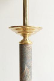 Set van 5 matchende vintage lampen met gouden details. Vloer/schemer en plafond lamp