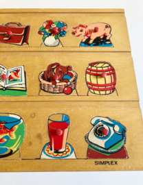 Vintage puzzel van Simplex met o.a. dieren. Houten retro speelgoed.