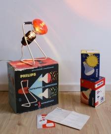 Vintage warmtelamp van Philips in doos!!! Retro design lamp.