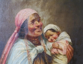 Olieverf-schilderij op board in vintage lijst. Groot portret door Moncayo