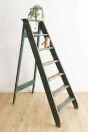 Originele houten vintage trap. Grote groene schilders ladder.