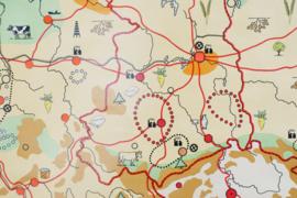 Retro schoolplaat van Duitsland en Polen. Toffe vintage landkaart / pull down chart