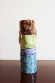 Gekke vintage vaas, mannetje met snor. Figuratief design object, Phila del Art