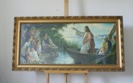 Grote religieuze print in kitsch lijst. Jezus in een boot.