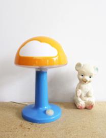 Oranje met blauw retro lampje. Vrolijke paddestoel lamp van IKEA, Skojig