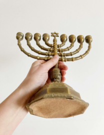 Prachtige Joodse vintage kandelaar. Goudkleurige Chanoekia met Davidsster