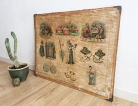 Vintage prent; Godsdient en huiselijk leven. Originele retro schoolplaat.