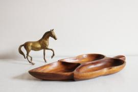 Teak houten vintage schaal in blad vorm. Bohemien bord met vakken