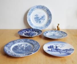 Set van 5 porseleinen wandborden. Blauw/witte vintage borden, o.a. Holland