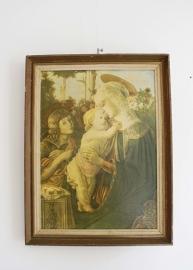 Vintage prent van Maria met Jezus. Brocante afbeelding van Botticelli in houten lijst