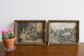 Set van 2 kleine vintage prentjes achter glas in lijst.