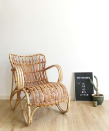 Vintage rotan fauteuil, Rohe? Retro Bohemian stoel met kussen