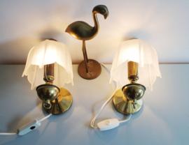 Set vintage nachtlampjes met glazen kap. Twee goudkleurige lampjes