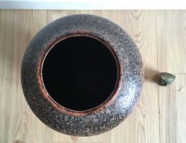 Grote vintage West Germany vaas. Oranje aardewerk retro vaas. Type 517-36