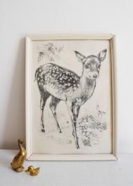 Vintage 'schilderijtje'met hertje. Retro Bambi prent in lijst.