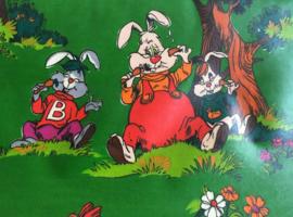 Vintage aankleedkussen met Bobo. Groen retro verschoon kussen