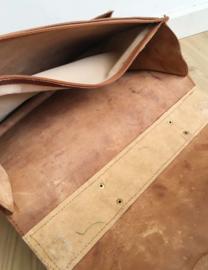 Lederen vintage schooltas. Retro boekentas/ aktetas van leer.