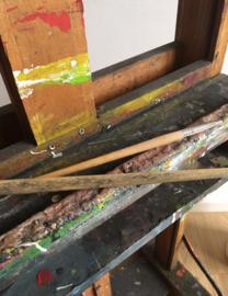 Super stoere houten schildersezel. Verstelbare vintage ezel / XXL stoepbord