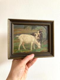 Klein schilderijtje van een geitjes in de wei. Olieverf schilderij op doek