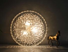 Grote vintage plafonnière van gebobbeld glas. Zware glazen plafond lamp, Leuchten?