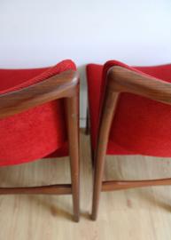 Set houten vintage stoelen met rode bekleding. Mid Century design stoel, 4 x