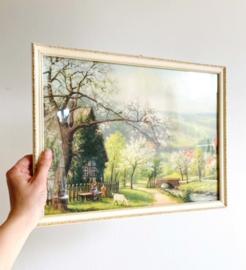 Vintage 'schilderijtje' in lijst, lente. Kleurrijke retro prent in lijst.