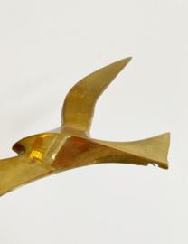 Set van 3 goudkleurige vogels. Vintage messing (?) zwaluws voor aan de muur