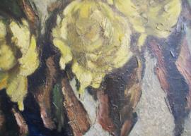 Groot bloemstilleven in lijst. Olieverf schilderij op doek met chrysanten